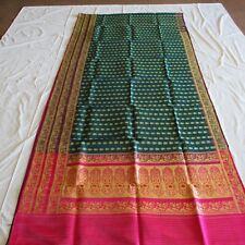PEACOCK Gold BREATHTAKING PURE SILK Sari BROCADE Fabric RARE Saree DRAPE Curtain