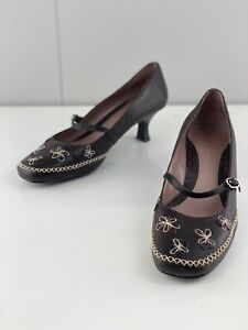 Hush Puppies Daisy Womens Floral Heels Stitching Size 8 Black
