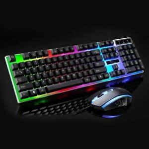 Juego de teclado y mouse Rainbow Mouse con retroiluminación cambiante multicolor