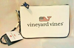 VINEYARD VINES Small White Wristlet Pouch With Flag Whale Logo New