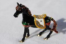 SWAROVSKI CRYSTAL BEJEWELED ENAMEL HINGED TRINKET BOX- BLACK SPARKLING HORSE