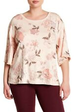 39f551fbdcd NEW NWT Democracy Plus Size Spring Pink Floral Print Back Collar Tie Blouse  3X
