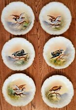 "Vintage Limoges Ldbc 6 Bird Plates Hand Painted 9-1/4"" Signed Luz Decorative"