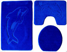 3 Teillig Badgarnitur Badteppich Badezimmergarnitur Set Vorleger 85 X55cm  Blue M