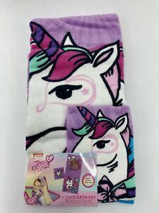 JoJo Siwa 2 Piece Bath Towel Cloth Set Purple Unicorn Rainbow New 25x50 Full