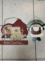 2 VINTAGE WOOD CHRISTMAS Holiday Santa Wall Decor Handmade Hand-painted Folk Art