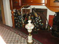 Vintage French Style Table Lamp Painted Flowers Signed Avlid White Lovely Detail