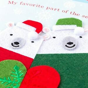 Papyrus Christmas Card - Felt Bears, Snuggling with you Favorite Part of Season