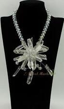 N14061515 rock specimen column DT point quartz crystal flower necklace earrings