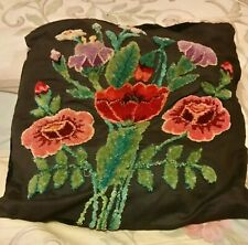 "Vintage Antique Elaborate Embroidered Flower Pillow size 16"" X 17"""