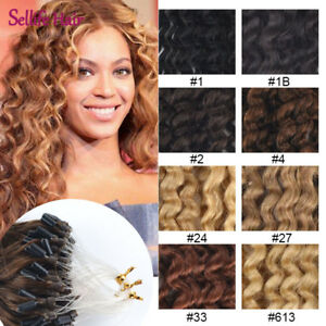 Ombre Body Wavy&curly Loop Micro Rings Beads 100% Remy Human Hair Extensions