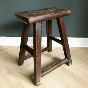 Antique Chinese Wooden Stool Milking Stool Wood