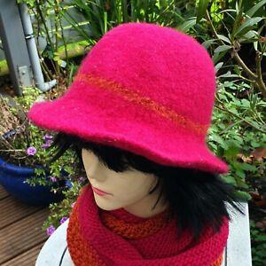 Filzhut***reine Wolle***pink/orange***55/57***handmade***Unikat!