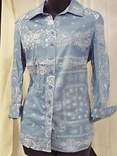 Coldwater Creek Blue Bandana 3/4 Sleeve Button Front Blouse NWT
