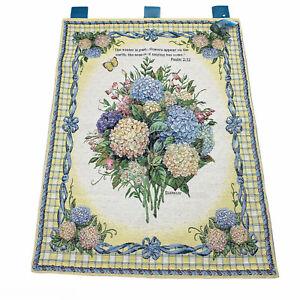 Hydrangea Floral Bouquet Tapestry Wall Hanging w/ Verse ~ Artist, Lena Liu