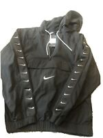 Nike Air Big Swoosh Logo Hooded Pouch Pullover Jacket  Black Size Xl Retail $130