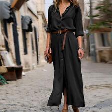 Women Spring Autumn Casual Long Sleeve Loose Long Maxi Shirt Dress Plus Size