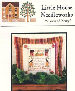 Little House Needleworks SEASON OF PLENTY Cross Stitch Chart ~ sampler / autumn