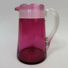 VICTORIAN ANTIQUE CRANBERRY & WHITE TRAILED GLASS WATER JUG C.1880