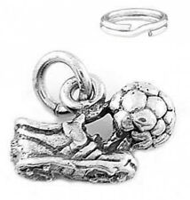 "SILVER 3D ""SOCCER SHOE AND BALL"" CHARM WITH SPLIT RING"