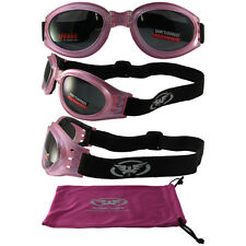 Pink Motorcycle Biker Goggles PADDED Womens Googles Outdoor Fitness Burning Man