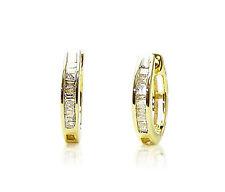 Sterling Silver Baguette Diamond Hoop Earrings .15ct 13mm Round .925 Gold Plated