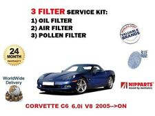 Para Chevrolet Corvette C6 6.0 V8 LS2 2005 - > ACEITE POLEN AIRE FILTRO 3 Kit de servicio