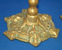 Pair of antique Victorian gothic devil, satyr brass candlesticks, twist stems