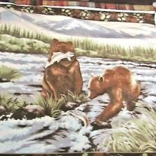 Scenic Mother Bear,Cub Fishing in River Dbl Side Fleece Panel,Wall Hanging 4 yds