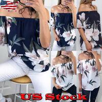Womens Summer Off Shoulder Floral Blouse Short Sleeve Tops Casual Ruffle T Shirt