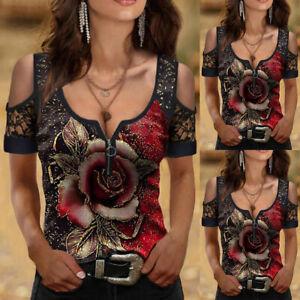 Women Lace Cold Shoulder Top Casual Zip V Neck Short Sleeve T-Shirt Loose Blouse