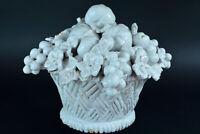 Ancienne Corbeille de Fruits en Faience Blanche Trompe l'oeil Malicorne 19éme