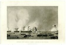 ATTACK UPON ROANOKE ISLAND–LANDING OF THE TROOPS/Civil War Battle/Engraving 8052