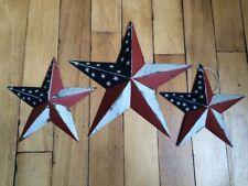 "(Set of 3) PATRIOTIC AMERICANA BARN STARS 8""/5.5"" PRIMITIVE RUSTIC AMERICAN"