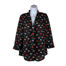 ModCloth Womens Black Blouse Size Medium Pleasant Tie Neck Top Umbrella Chiffon