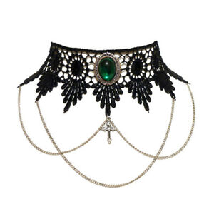 Emerald green gothic lace choker necklace Draped chains Steampunk wedding goth
