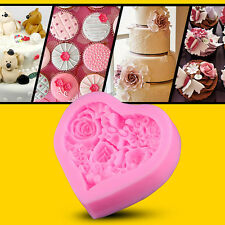 Heart Shape Rose Flower Silicone Mould Polymer Clay Sugar Craft Cake Decorating