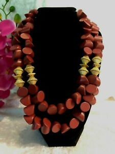 """PLUNDER Red Burgundy Necklace Gold Tone Chunky Statement 24"""" Double Strand"""