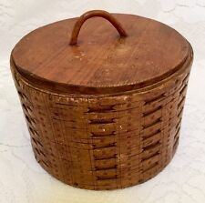 Vintage Primitive Tramp Art Round Wooden Box Pantry Cheese Box