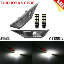Pair SMOKED SIDE MARKER LAMP TURN SIGNAL LIGHT W/LED BULB FOR HONDA CIVIC