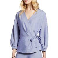 Halogen Chambray Wrap Peplum Shirt Jacket 3/4 Puff Sleeve Blue Small Petite NEW