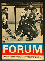 1967 NHL Hockey Montreal Canadiens v Toronto Maple Leafs Program
