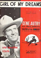 """SOUTH OF THE BORDER Sheet Music """"Girl Of My Dreams"""" Gene Autry"""