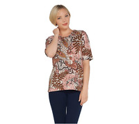 Denim & Co. Printed Jersey Scoop-Neck Elbow-Sleeve Top Rose Multi, Small