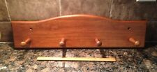 New Old Stock Wood Pine Country 4 Peg Rack Wall Mount ~1986~Item # 1297