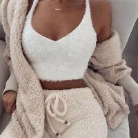 Fashion Women Casual Tank Tops V-Neck Sleeveless Fleece Vest Sexy Solid Cami Top