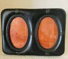 Vintage Art Nouveau Table Top Black Metal Picture Frame, Double Oval Openings