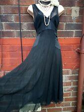 Silk Dress sz 12 Black midi Lined 20s peaky blinders flapper Gatsby Charleston