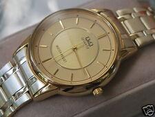 Nice Q&Q by Citizen Gold Tone Men's Dress Watch w/Golden Two Tone Dial