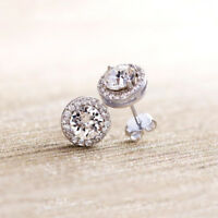 White Gold Plated Made with Swarovski Crystal  Halo Stud Earrings